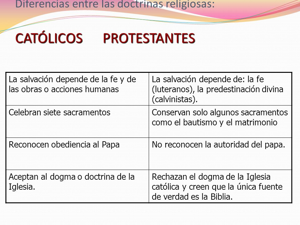 Diferencias entre las doctrinas religiosas: CATÓLICOS PROTESTANTES