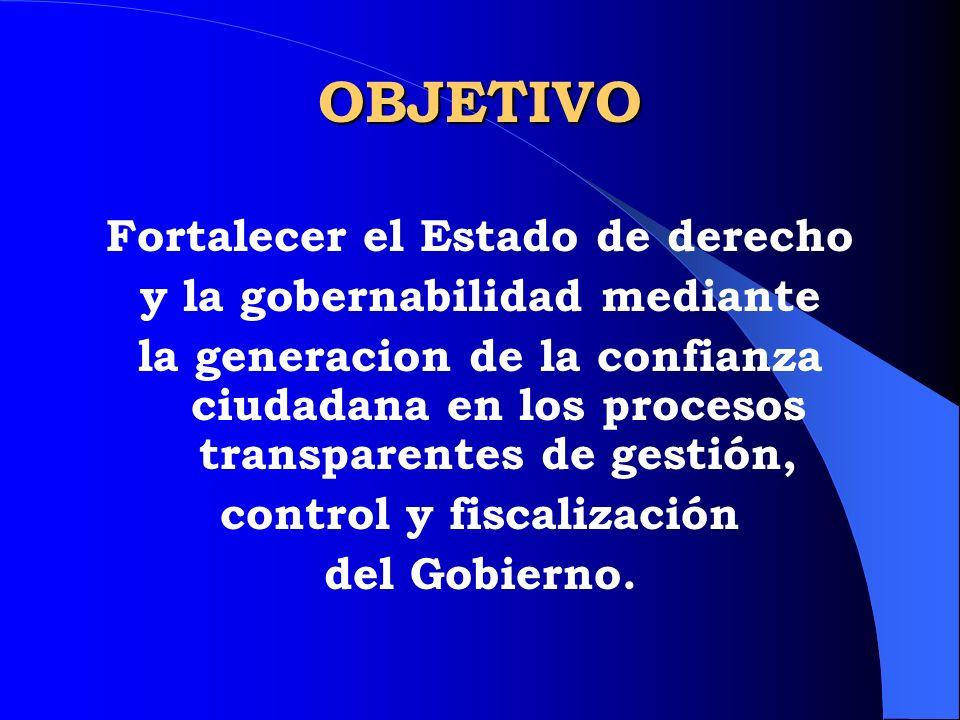 OBJETIVO Fortalecer el Estado de derecho y la gobernabilidad mediante