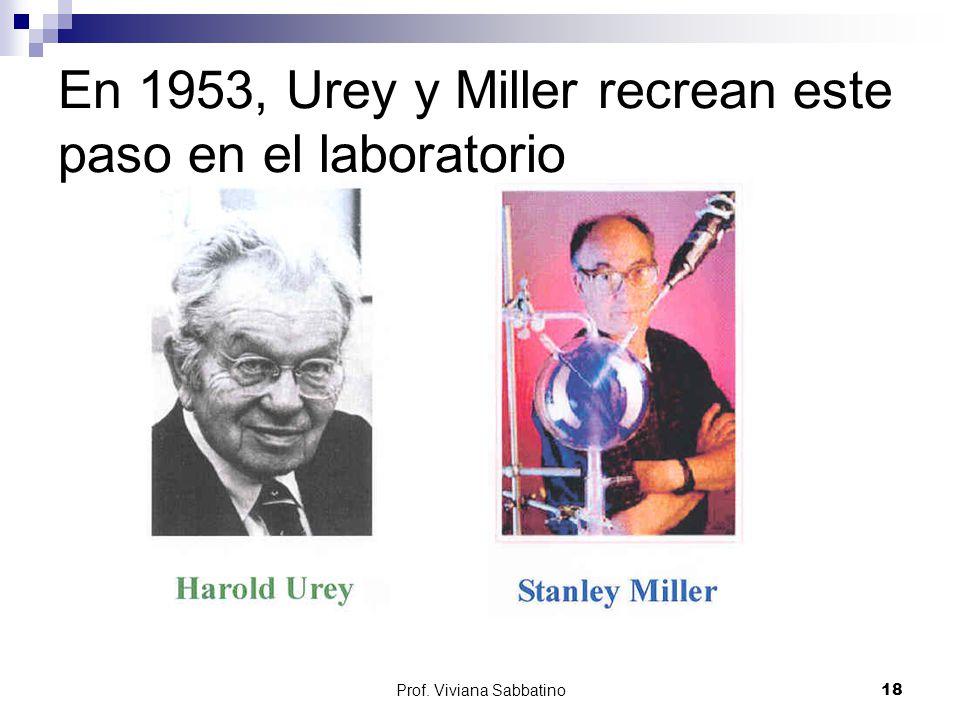 En 1953, Urey y Miller recrean este paso en el laboratorio