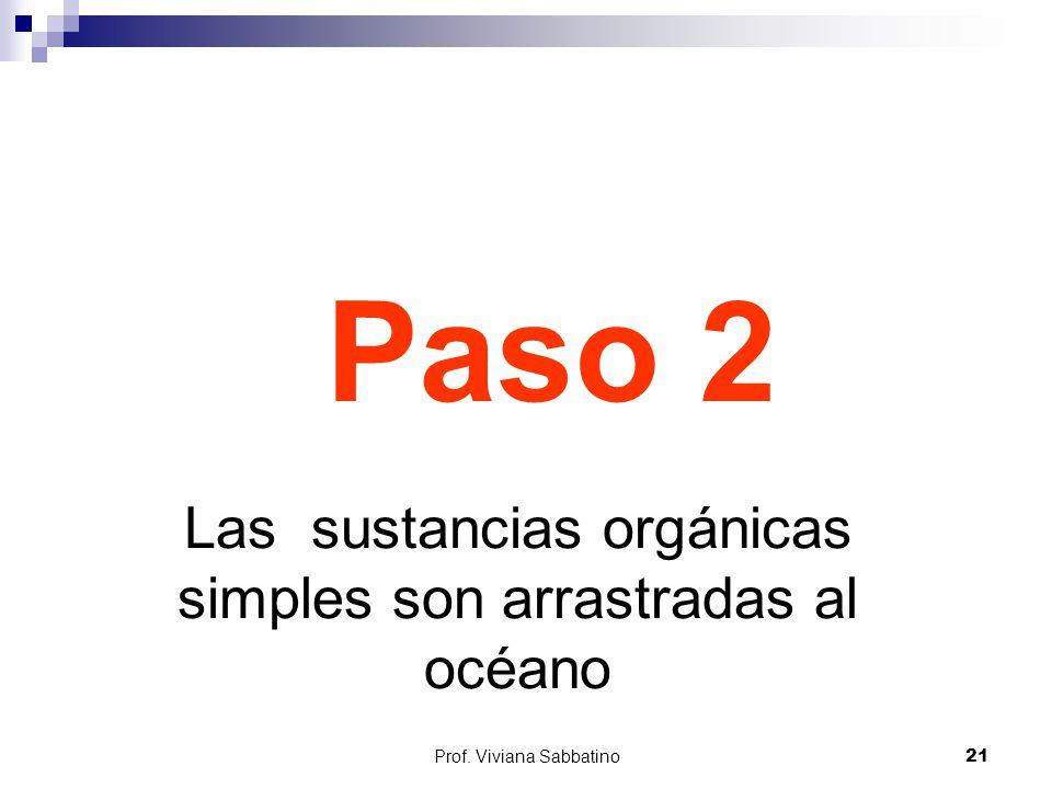 Paso 2 Las sustancias orgánicas simples son arrastradas al océano