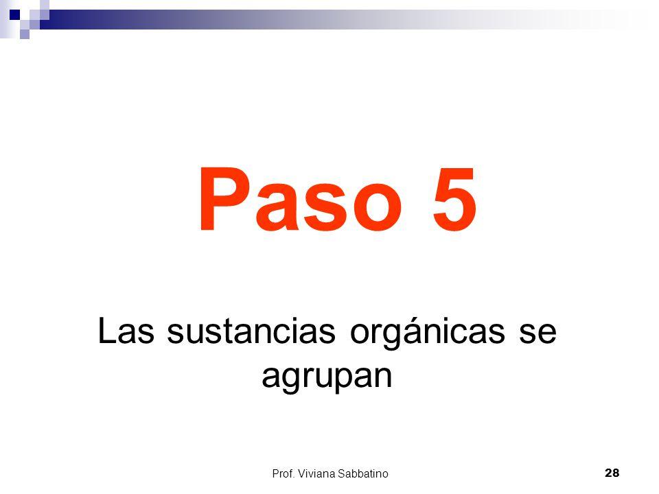 Paso 5 Las sustancias orgánicas se agrupan Prof. Viviana Sabbatino