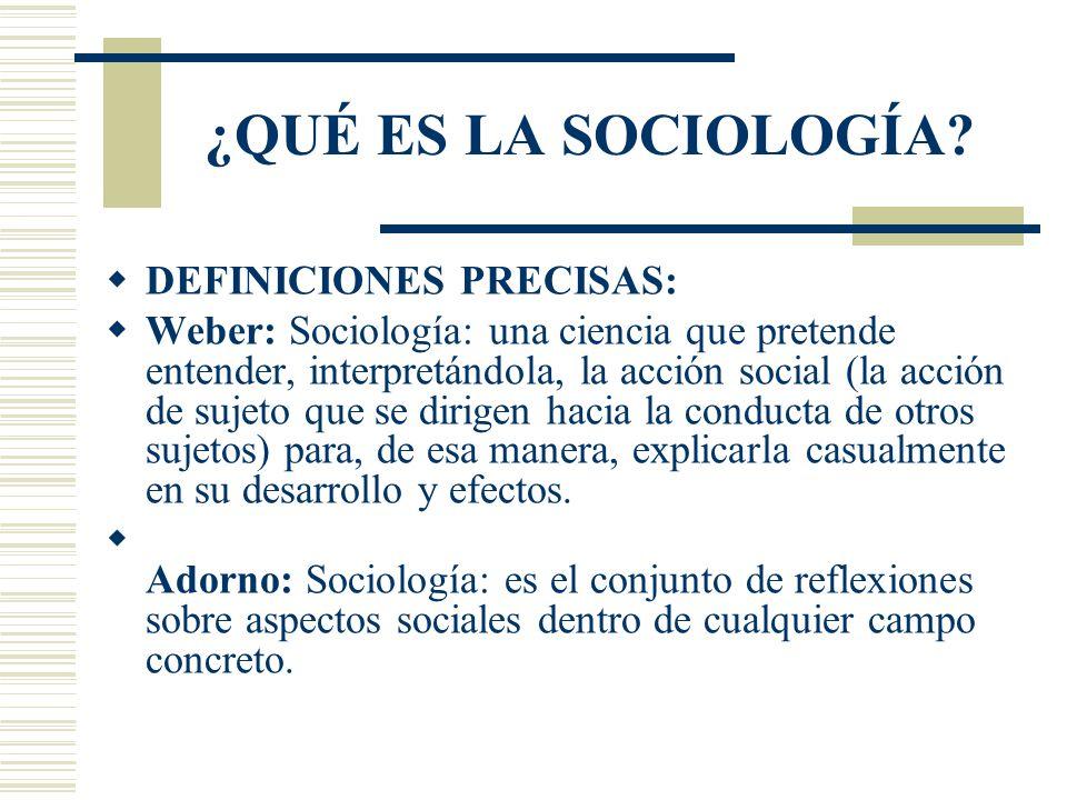 ¿QUÉ ES LA SOCIOLOGÍA DEFINICIONES PRECISAS: