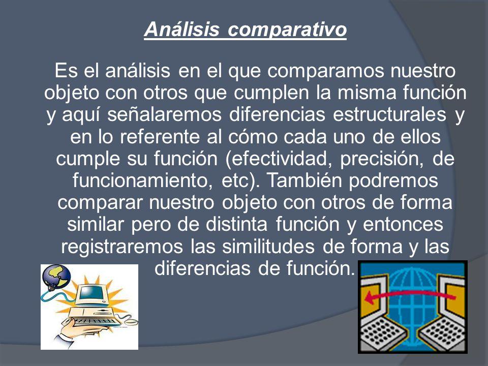 Análisis comparativo Es el análisis en el que comparamos nuestro objeto con otros que cumplen la misma función y aquí señalaremos diferencias estructurales y en lo referente al cómo cada uno de ellos cumple su función (efectividad, precisión, de funcionamiento, etc).