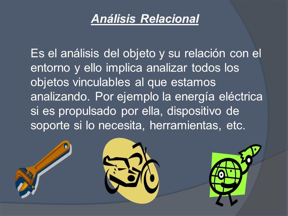 Análisis Relacional Es el análisis del objeto y su relación con el entorno y ello implica analizar todos los objetos vinculables al que estamos analizando.