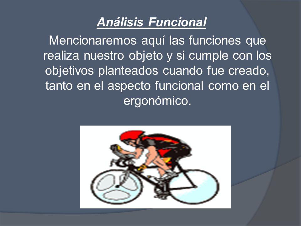 Análisis Funcional Mencionaremos aquí las funciones que realiza nuestro objeto y si cumple con los objetivos planteados cuando fue creado, tanto en el aspecto funcional como en el ergonómico.