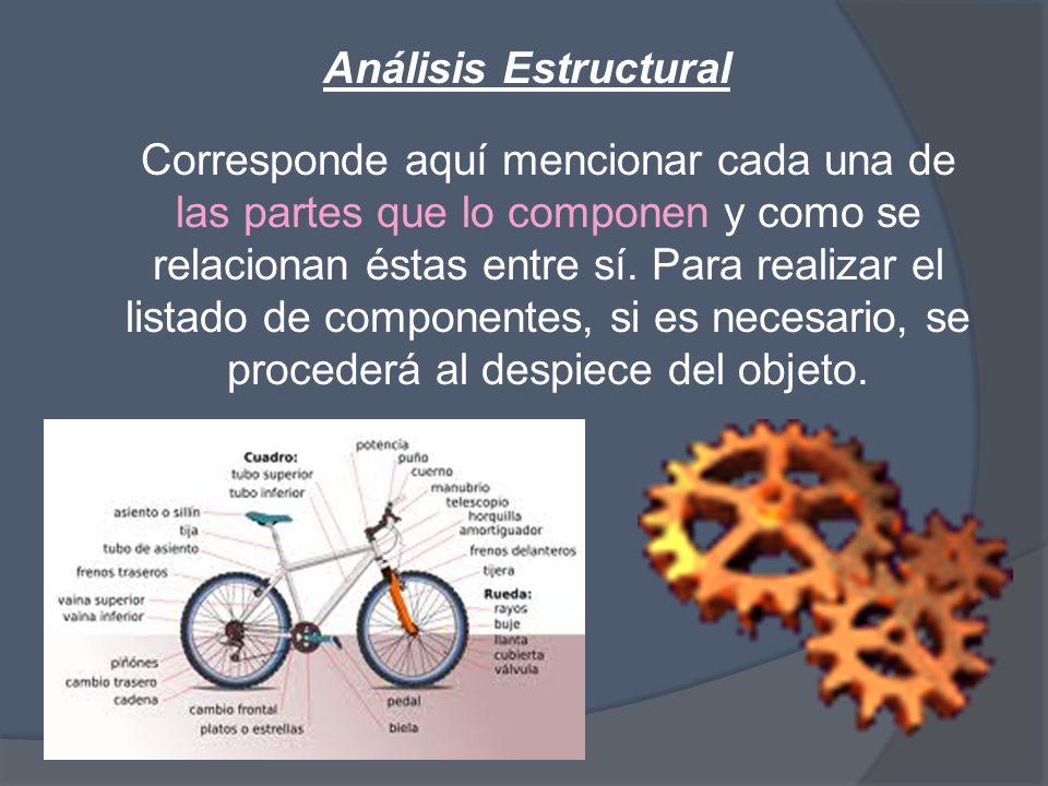 Análisis Estructural Corresponde aquí mencionar cada una de las partes que lo componen y como se relacionan éstas entre sí.