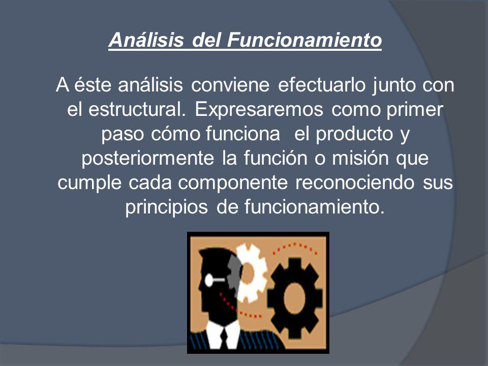 Análisis del Funcionamiento A éste análisis conviene efectuarlo junto con el estructural.
