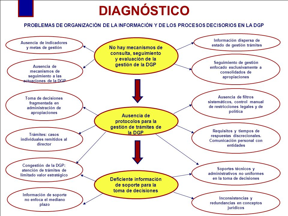 DIAGNÓSTICOPROBLEMAS DE ORGANIZACIÓN DE LA INFORMACIÓN Y DE LOS PROCESOS DECISORIOS EN LA DGP. Información dispersa de estado de gestión trámites.