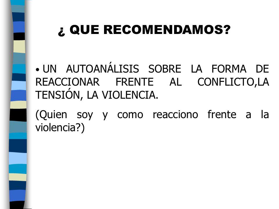 ¿ QUE RECOMENDAMOS UN AUTOANÁLISIS SOBRE LA FORMA DE REACCIONAR FRENTE AL CONFLICTO,LA TENSIÓN, LA VIOLENCIA.