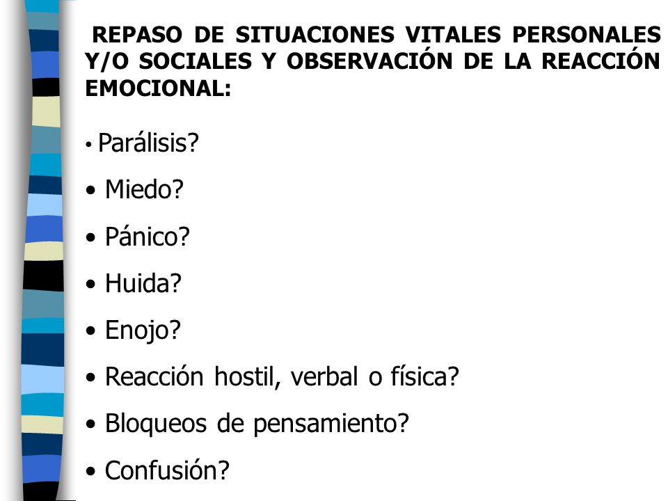 Reacción hostil, verbal o física Bloqueos de pensamiento Confusión