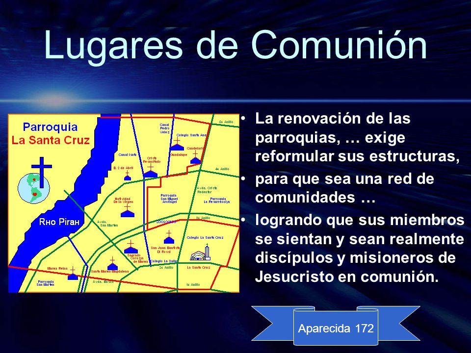 Lugares de Comunión La renovación de las parroquias, … exige reformular sus estructuras, para que sea una red de comunidades …