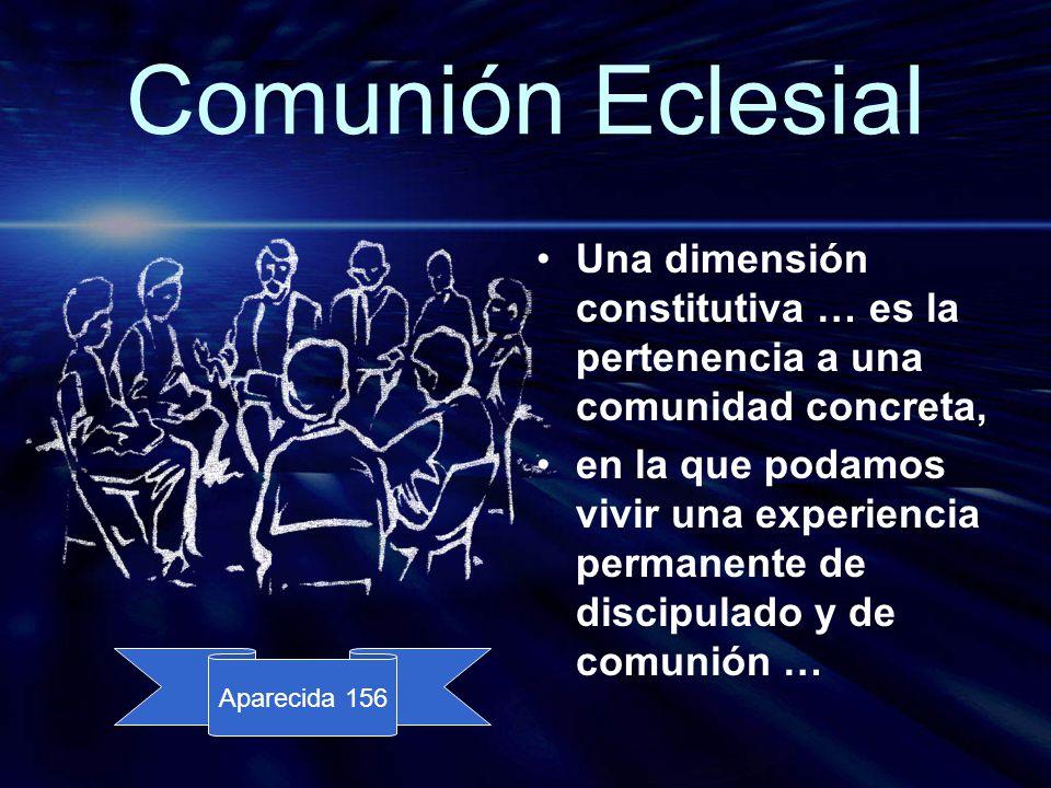 Comunión Eclesial Una dimensión constitutiva … es la pertenencia a una comunidad concreta,