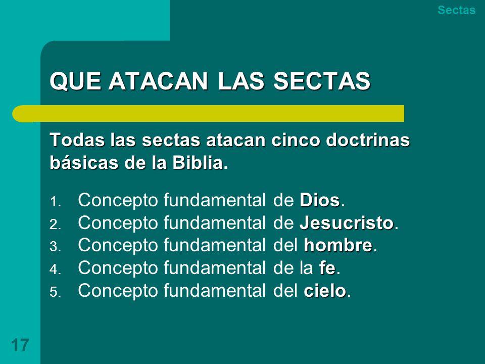 QUE ATACAN LAS SECTAS Todas las sectas atacan cinco doctrinas