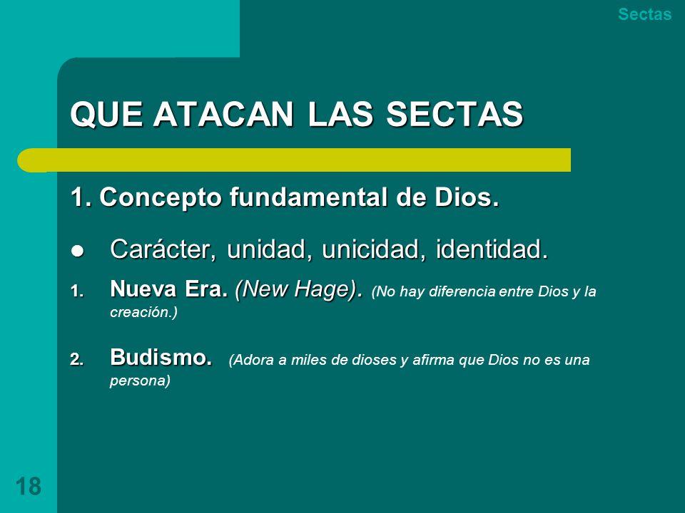 QUE ATACAN LAS SECTAS 1. Concepto fundamental de Dios.