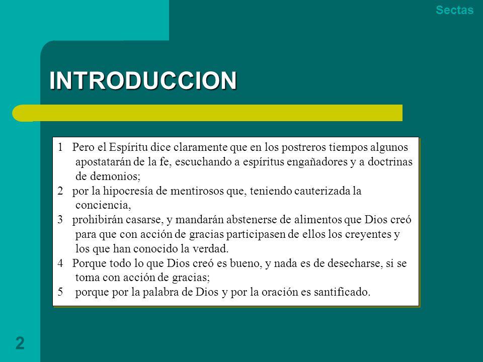 Sectas INTRODUCCION.