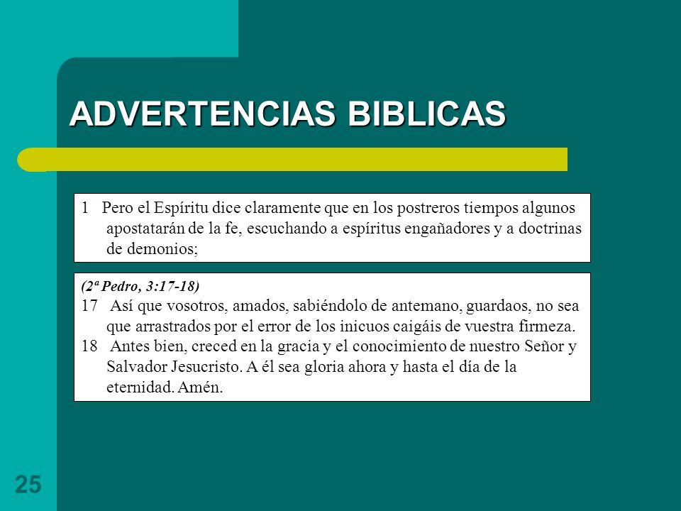 ADVERTENCIAS BIBLICAS