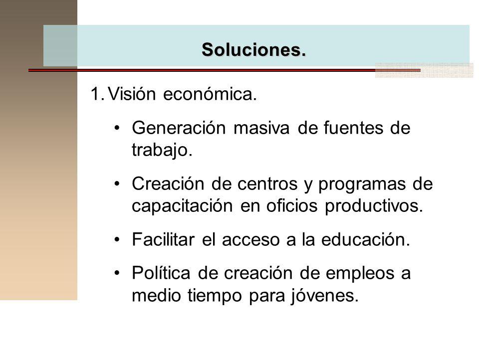 Soluciones. Visión económica. Generación masiva de fuentes de trabajo. Creación de centros y programas de capacitación en oficios productivos.
