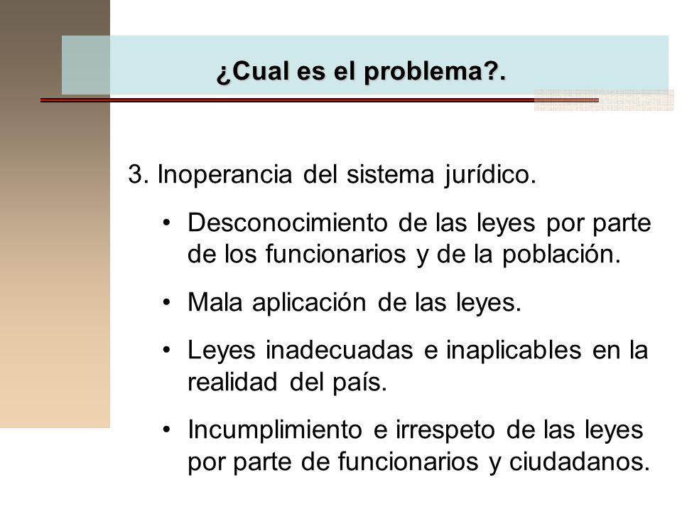 ¿Cual es el problema . 3. Inoperancia del sistema jurídico. Desconocimiento de las leyes por parte de los funcionarios y de la población.