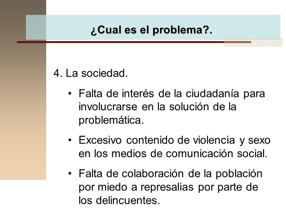 ¿Cual es el problema . 4. La sociedad. Falta de interés de la ciudadanía para involucrarse en la solución de la problemática.
