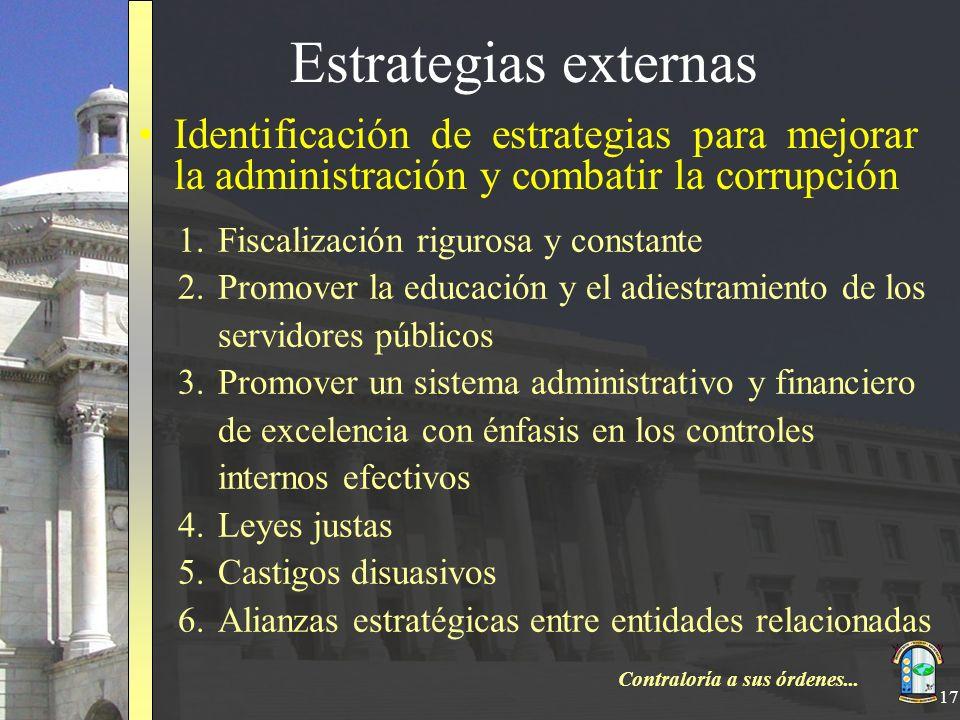 Estrategias externas Identificación de estrategias para mejorar la administración y combatir la corrupción.