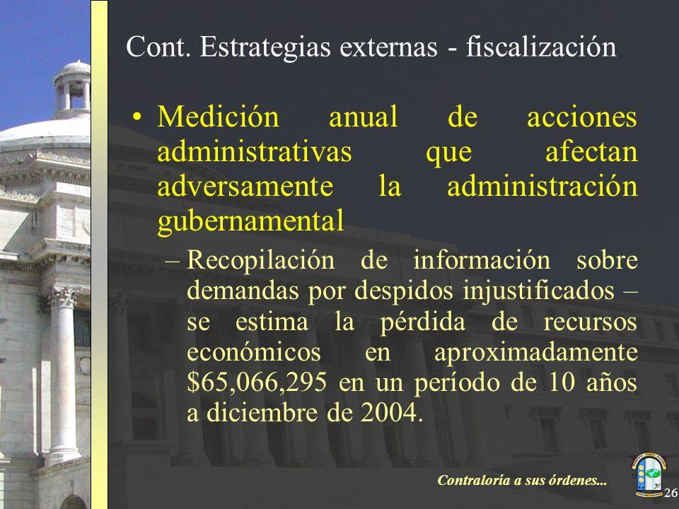 Cont. Estrategias externas - fiscalización