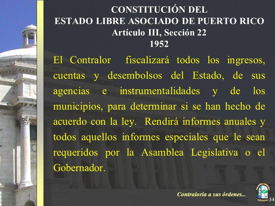 CONSTITUCIÓN DEL ESTADO LIBRE ASOCIADO DE PUERTO RICO Artículo III, Sección 22 1952