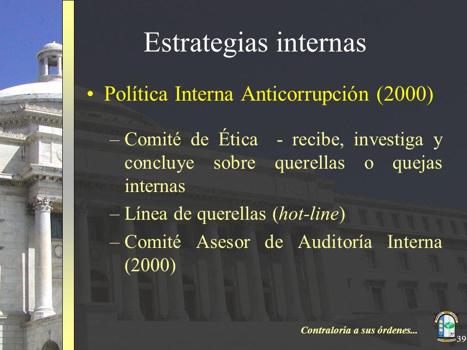 Estrategias internas Política Interna Anticorrupción (2000)