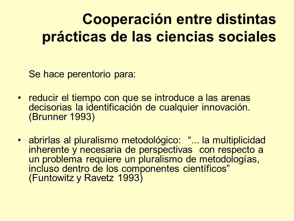 Cooperación entre distintas prácticas de las ciencias sociales