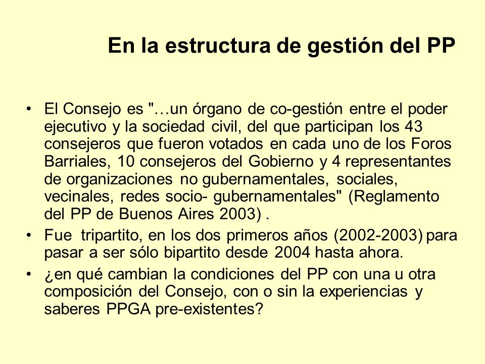 En la estructura de gestión del PP