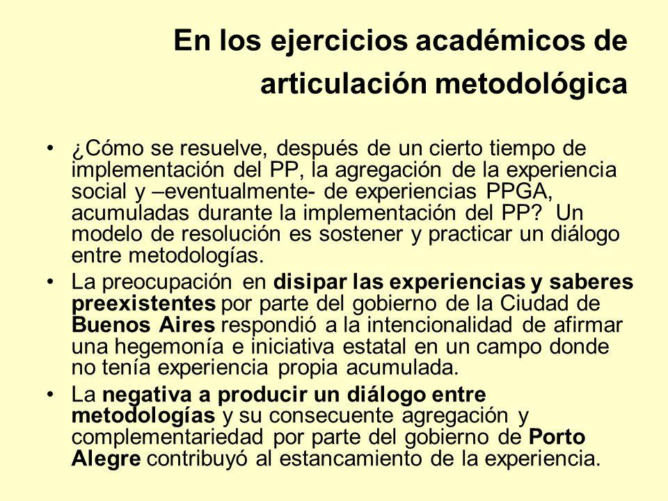 En los ejercicios académicos de articulación metodológica