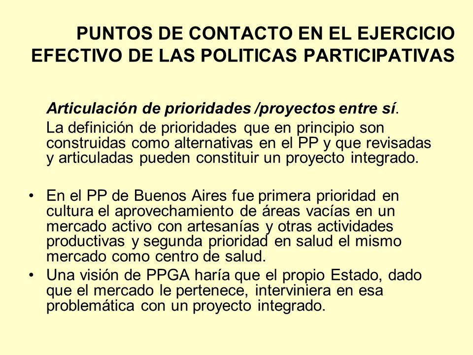 PUNTOS DE CONTACTO EN EL EJERCICIO EFECTIVO DE LAS POLITICAS PARTICIPATIVAS