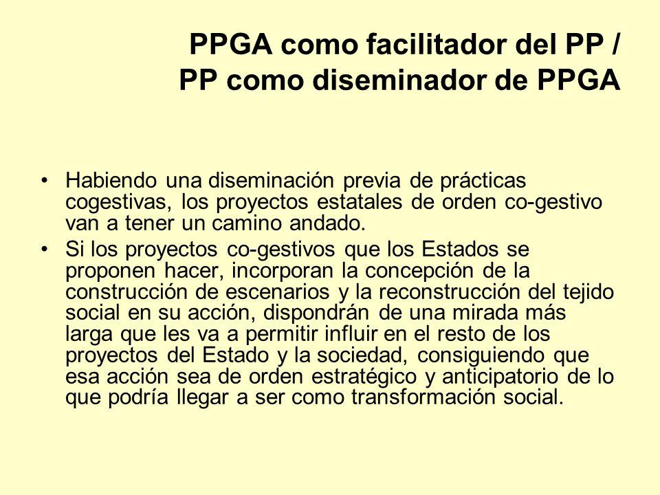PPGA como facilitador del PP / PP como diseminador de PPGA