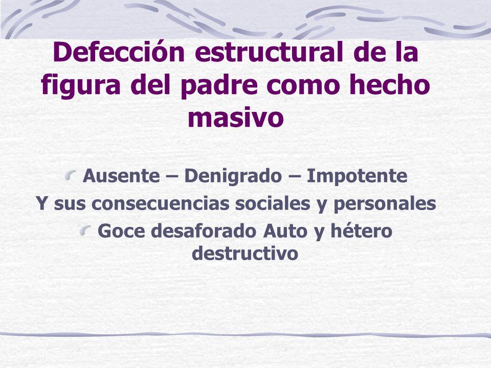 Defección estructural de la figura del padre como hecho masivo