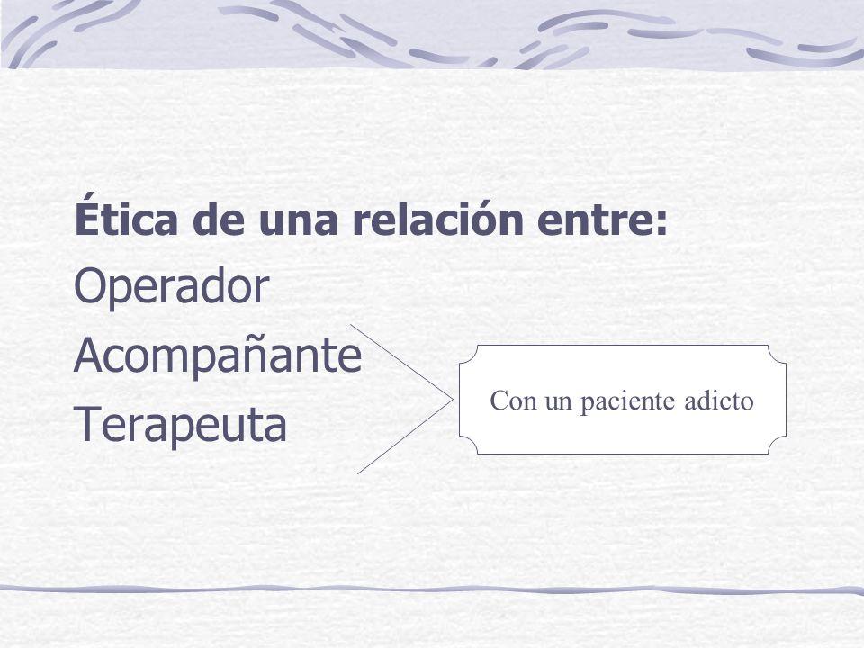 Operador Acompañante Terapeuta Ética de una relación entre: