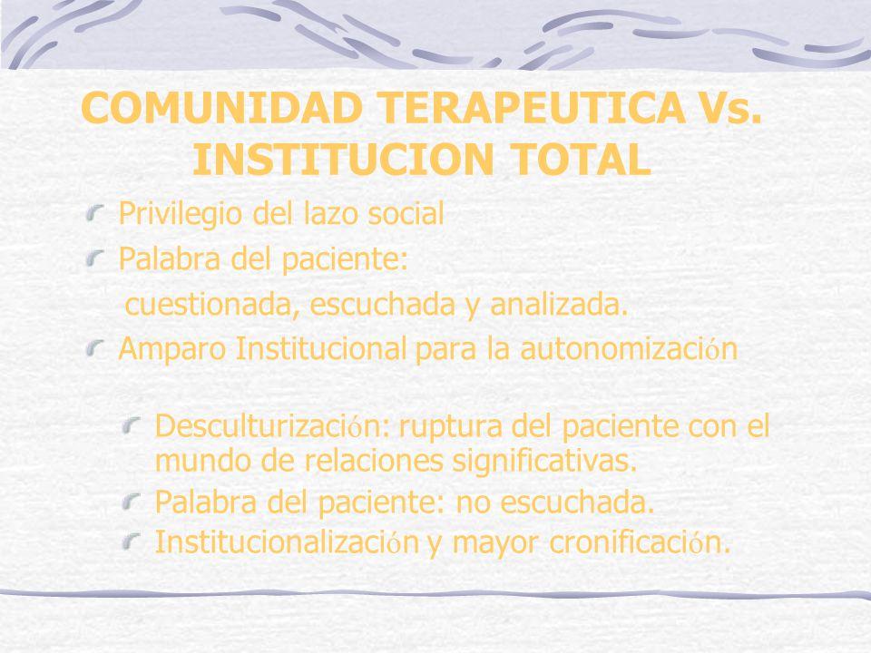 COMUNIDAD TERAPEUTICA Vs. INSTITUCION TOTAL