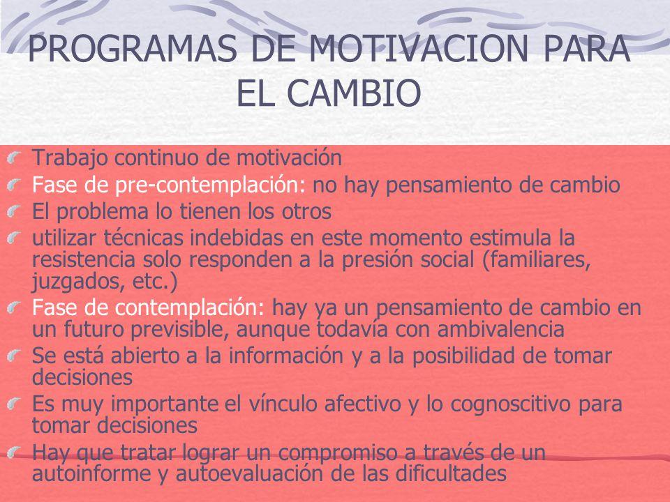 PROGRAMAS DE MOTIVACION PARA EL CAMBIO