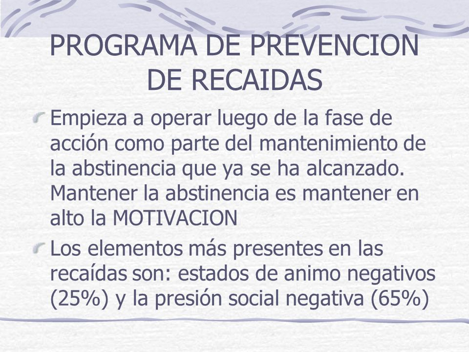PROGRAMA DE PREVENCION DE RECAIDAS