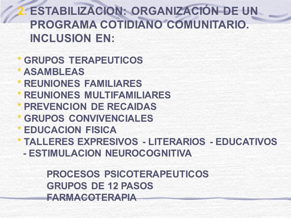 2. ESTABILIZACION: ORGANIZACIÓN DE UN PROGRAMA COTIDIANO COMUNITARIO.