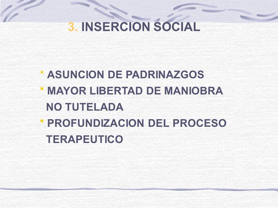 3. INSERCION SOCIAL * ASUNCION DE PADRINAZGOS