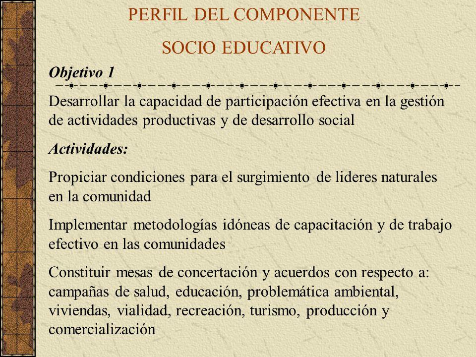 PERFIL DEL COMPONENTE SOCIO EDUCATIVO Objetivo 1