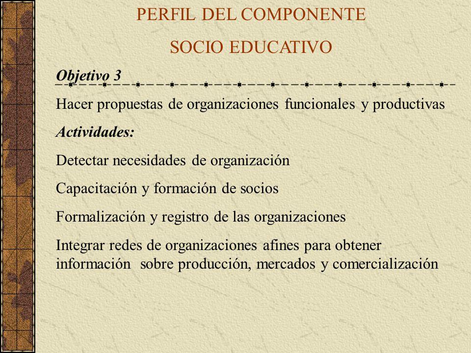 PERFIL DEL COMPONENTE SOCIO EDUCATIVO Objetivo 3