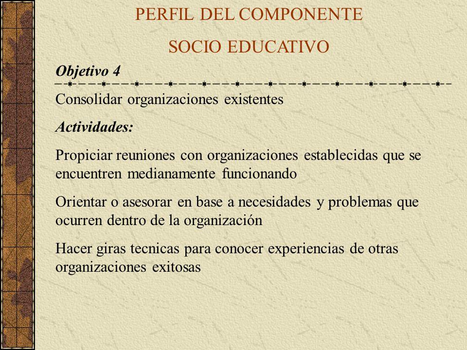 PERFIL DEL COMPONENTE SOCIO EDUCATIVO Objetivo 4