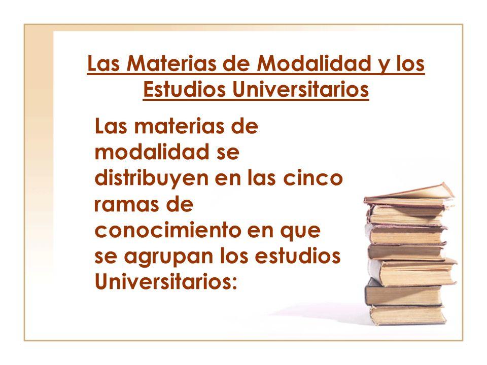 Las Materias de Modalidad y los Estudios Universitarios