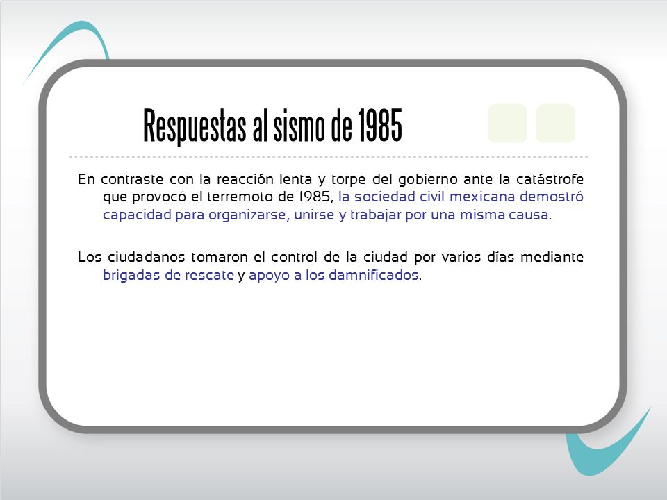 Respuestas al sismo de 1985