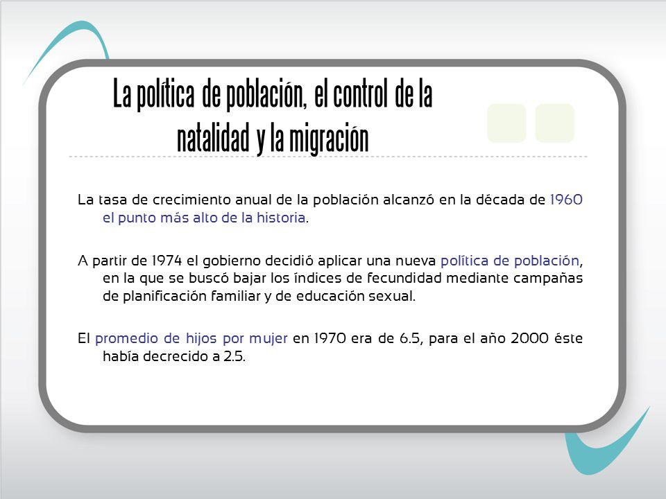 La política de población, el control de la natalidad y la migración