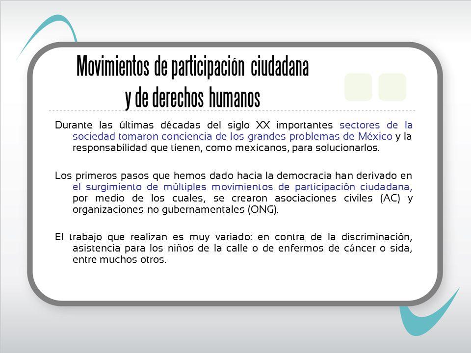 Movimientos de participación ciudadana y de derechos humanos