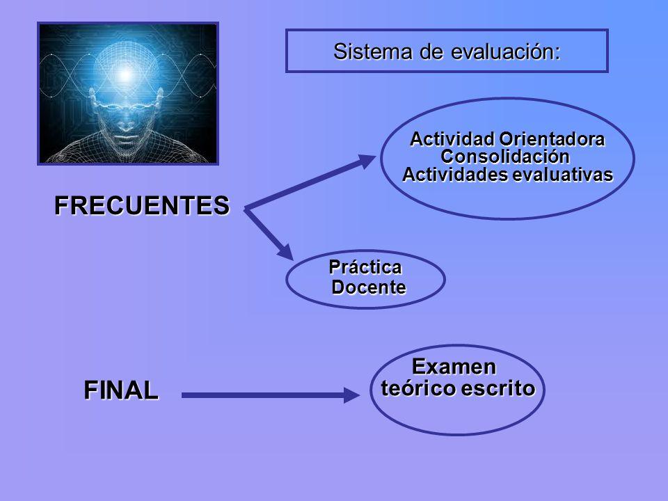 Actividad Orientadora Actividades evaluativas