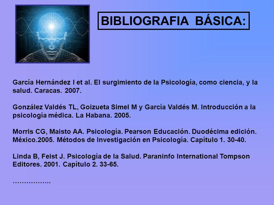 BIBLIOGRAFIA BÁSICA: García Hernández I et al. El surgimiento de la Psicología, como ciencia, y la salud. Caracas. 2007.