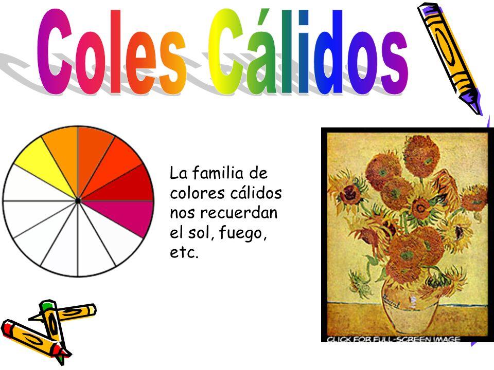 Coles Cálidos La familia de colores cálidos nos recuerdan el sol, fuego, etc.