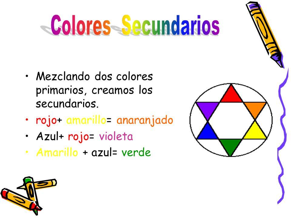 Colores Secundarios Mezclando dos colores primarios, creamos los secundarios. rojo+ amarillo= anaranjado.